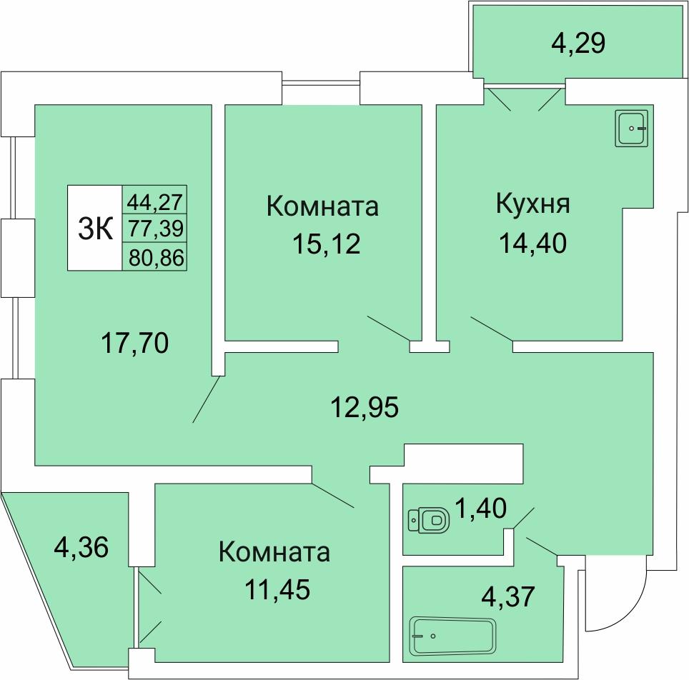 Гоголя, 205/2, 3-к квартира