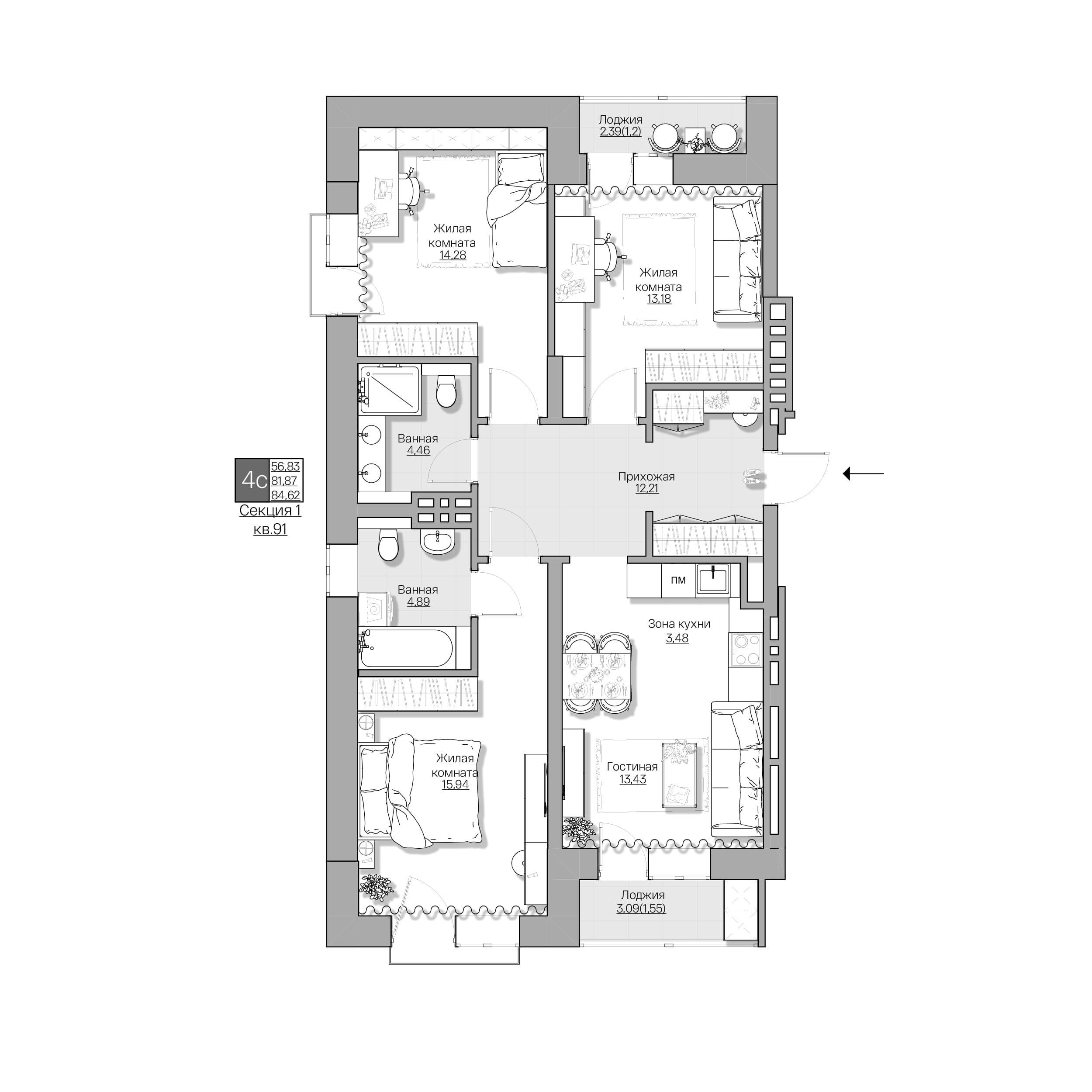 Красный проспект, 167, к1, 4-комнатная квартира